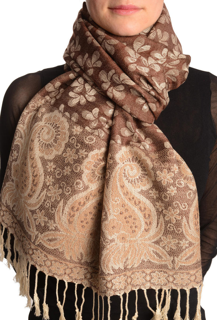 Small Clovers On Chocolate Brown Pashmina With Tassels