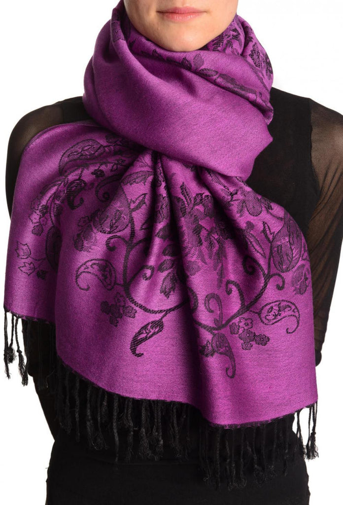Roses Frame On Orchid Purple Pashmina With Tassels