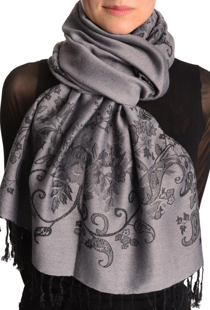 Roses Frame On Pewter Grey Pashmina With Tassels