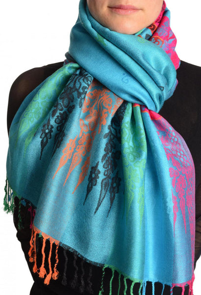 Rainbow Stripes In Blue Pashmina With Tassels