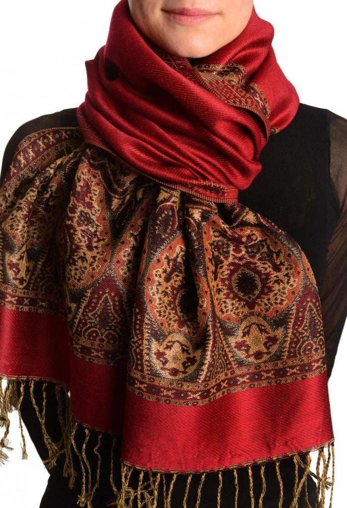 Maroon Red With Lurex Ornaments Pashmina With Tassels