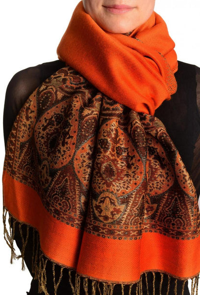 Orange With Lurex Ornaments Pashmina With Tassels