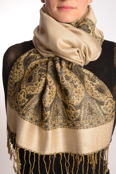 Beige With Lurex Ornaments Pashmina With Tassels
