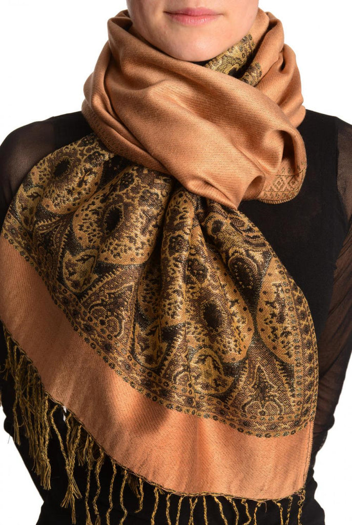 Caramel Beige With Lurex Ornaments Pashmina With Tassels