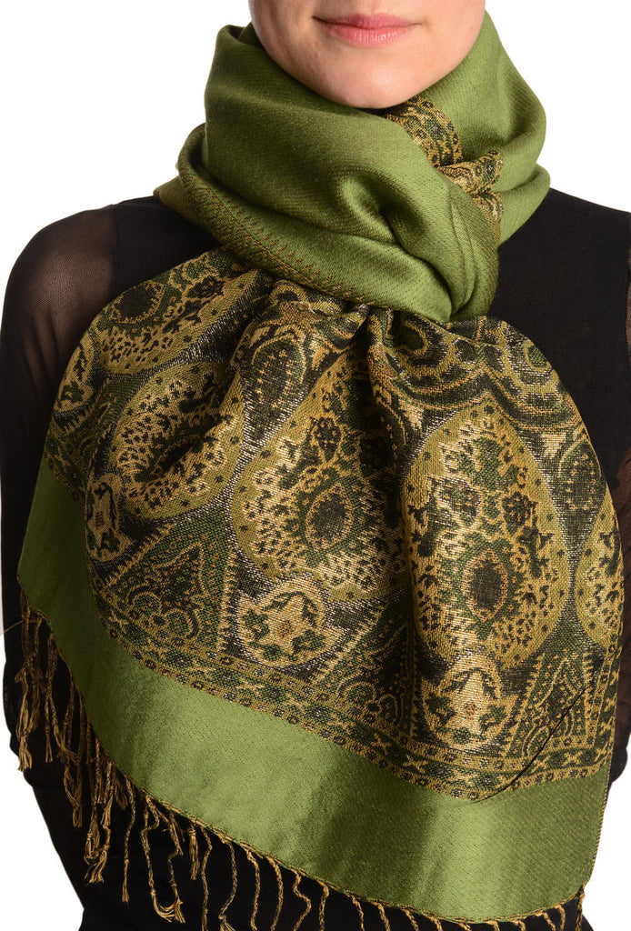 Olive Green With Lurex Ornaments Pashmina With Tassels