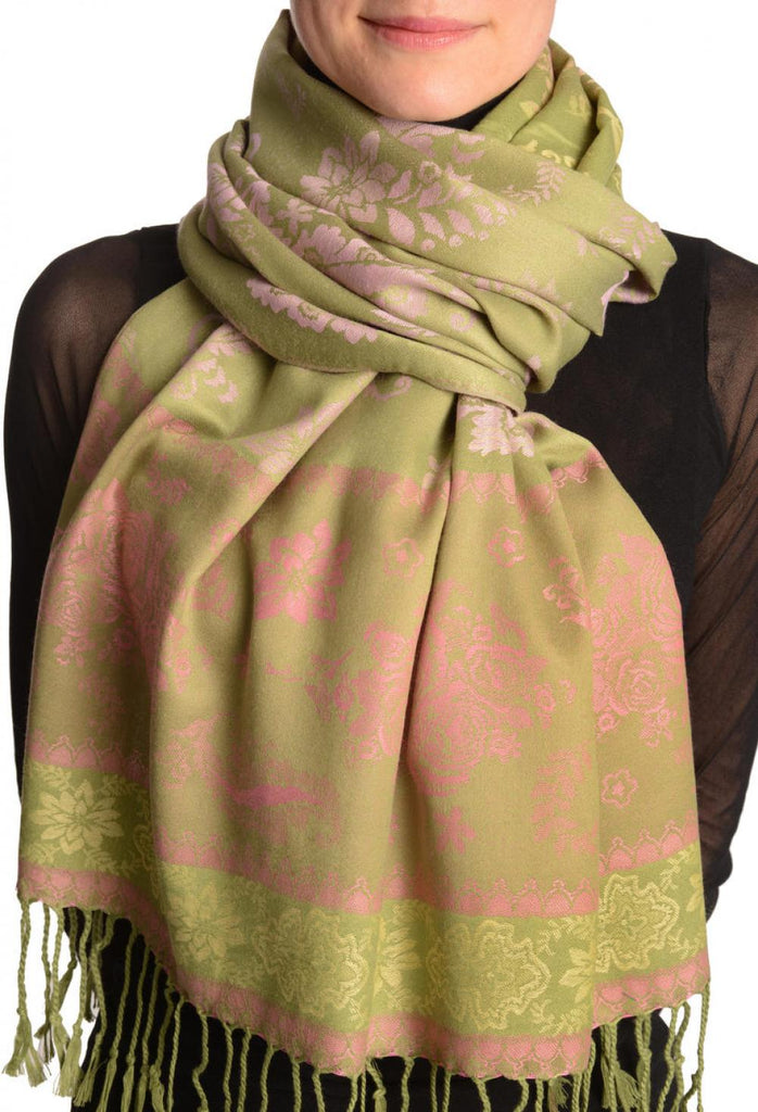 Fern & Flowers On Olive Green Pashmina With Tassels