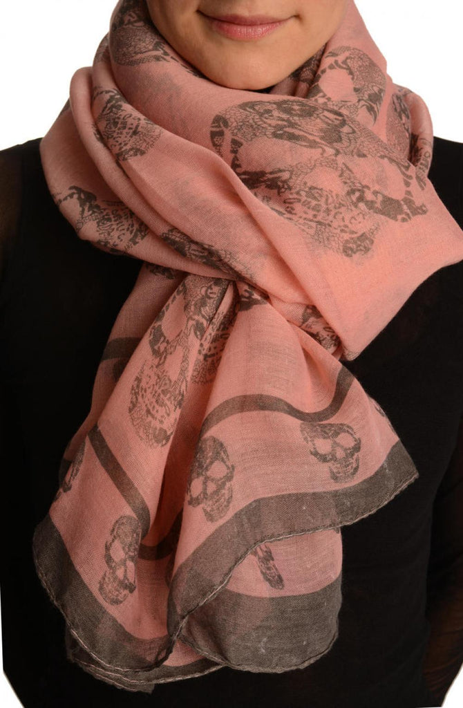 Grey Lace Skulls On Pink Unisex Scarf & Beach Sarong
