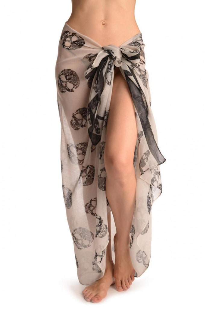 Grey Lace Skulls On White Unisex Scarf & Beach Sarong