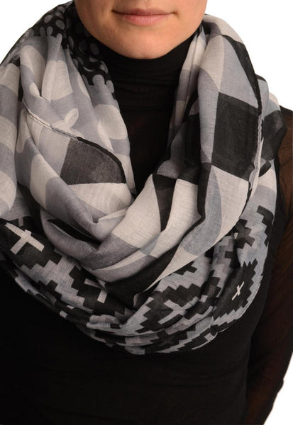 Grey Geometrical Pattern Mix Snood Scarf