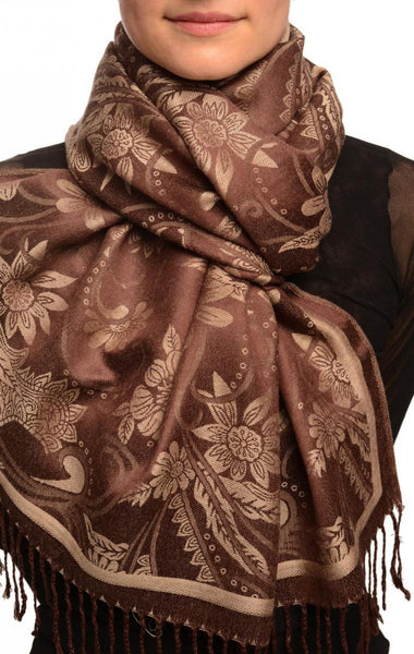 Beige Garden Flowers On Brown Pashmina With Tassels