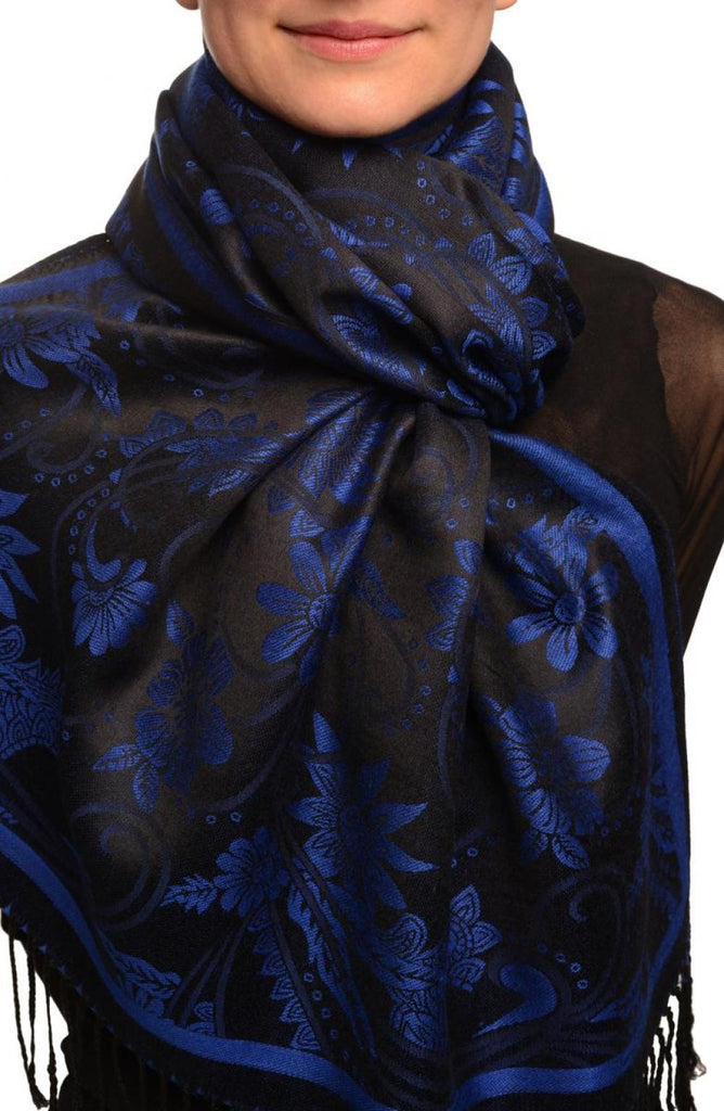 Blue Garden Flowers On Black Pashmina With Tassels