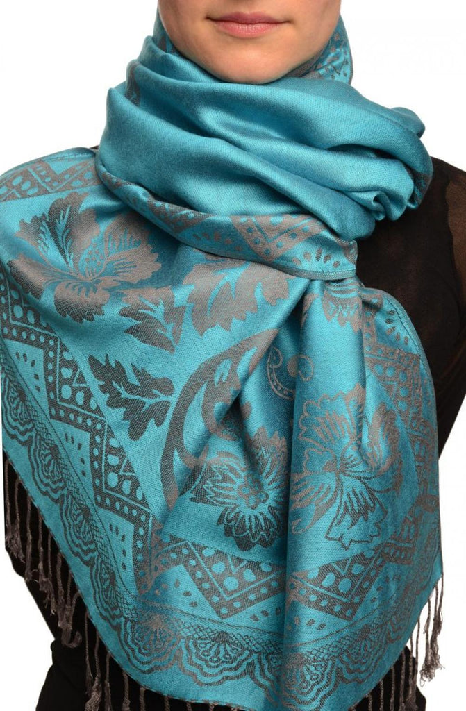 Large Paisley & Roses On Glaucous Blue Pashmina With Tassels
