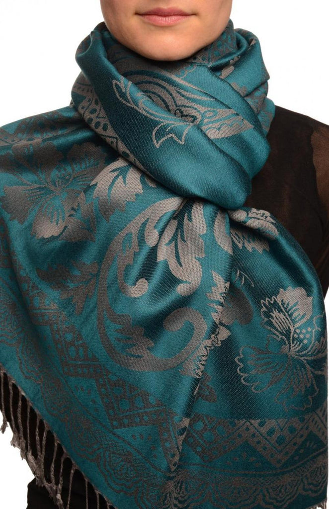 Large Paisley & Roses On Cerulean Blue Pashmina With Tassels