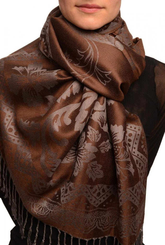 Large Paisley & Roses On Brown Pashmina With Tassels