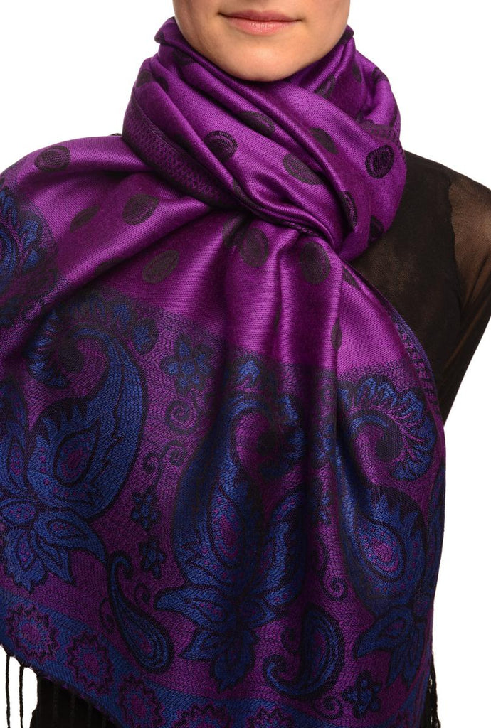 Ovals & Paisleys On Purple Pashmina With Tassels