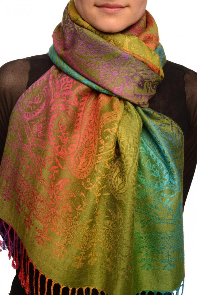 Mirrored Ombre Paisleys On Olive Green Pashmina With Tassels