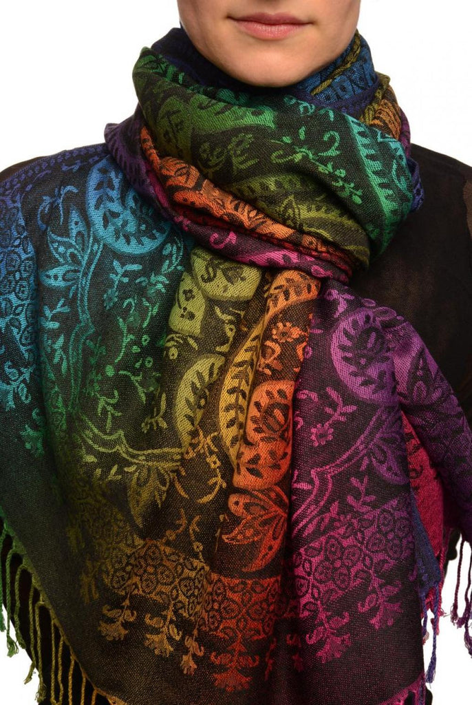 Mirrored Ombre Paisleys On Black Pashmina With Tassels
