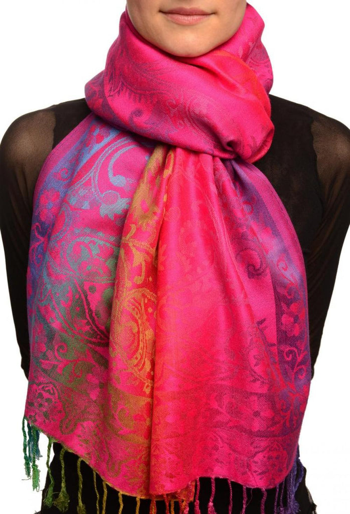 Large Ombre Paisley On Magenta Pashmina With Tassels