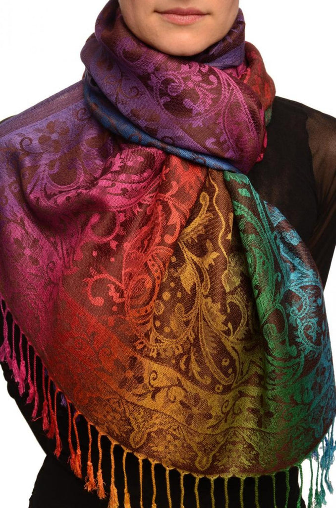Large Ombre Paisley On Brown Pashmina With Tassels