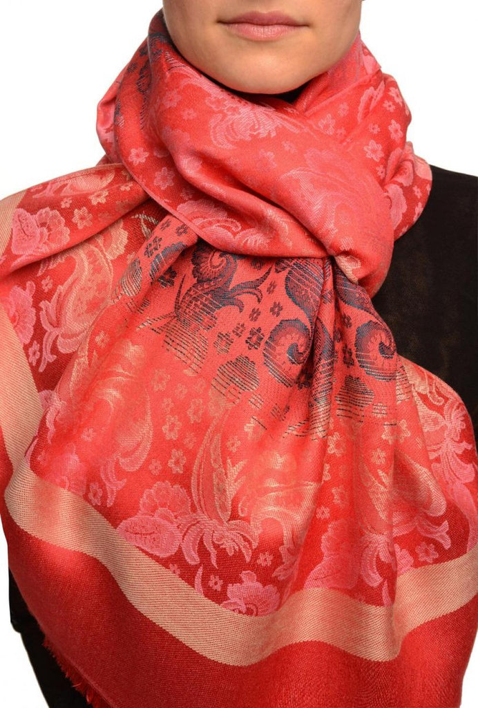 Gradient Flowers On Red Unisex Pashmina