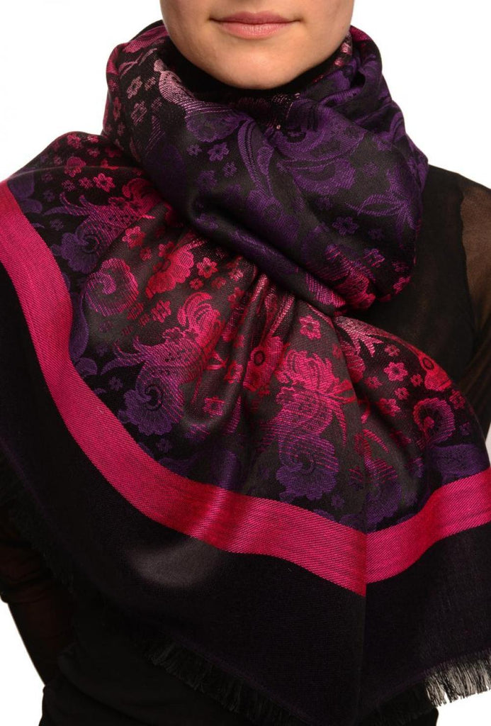 Gradient Flowers On Magenta & Black Unisex Pashmina