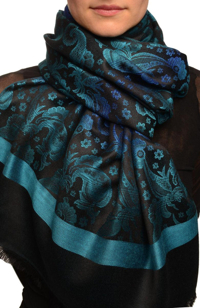 Gradient Flowers On Blue & Black Unisex Pashmina