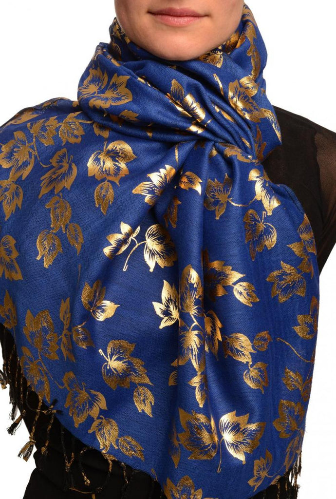 Gold Leafes Print On Persian Blue Pashmina With Tassels