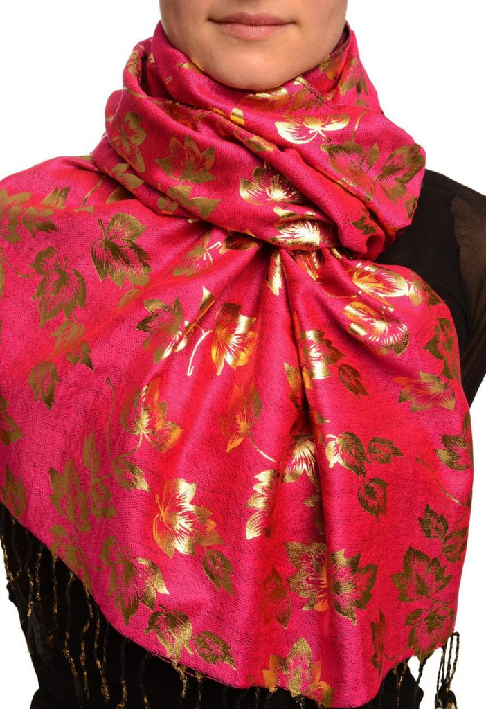 Gold Leafes Print On Magenta Pashmina With Tassels