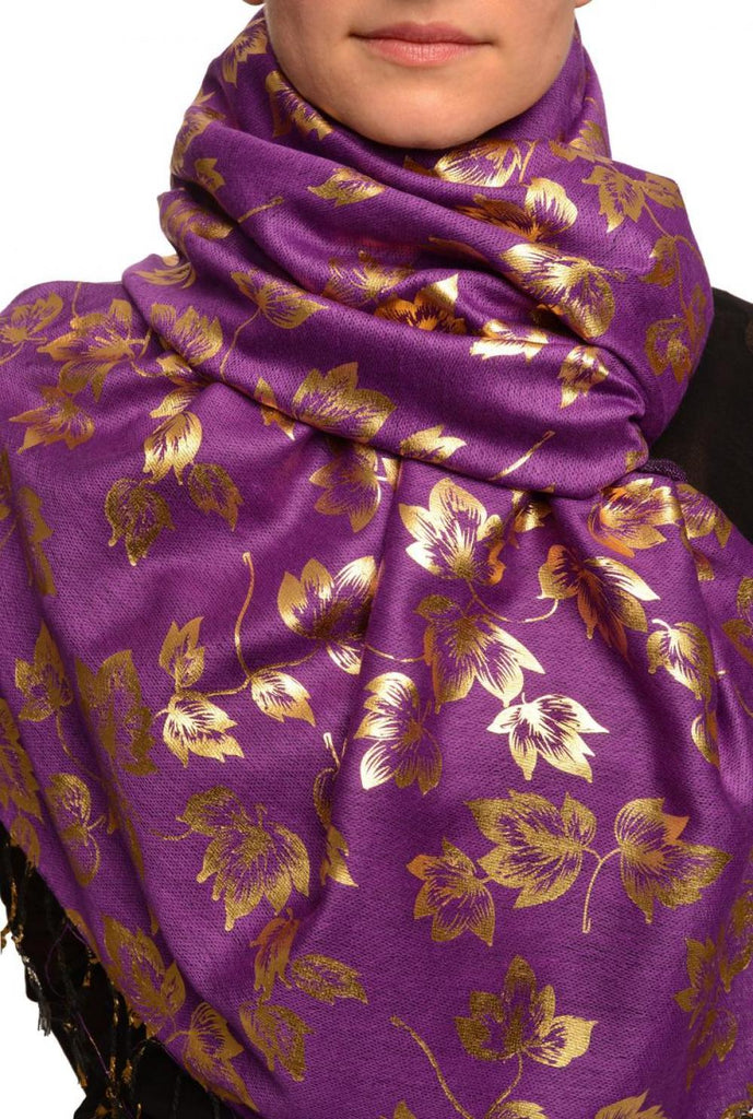 Gold Leafes Print On Purple Pashmina With Tassels