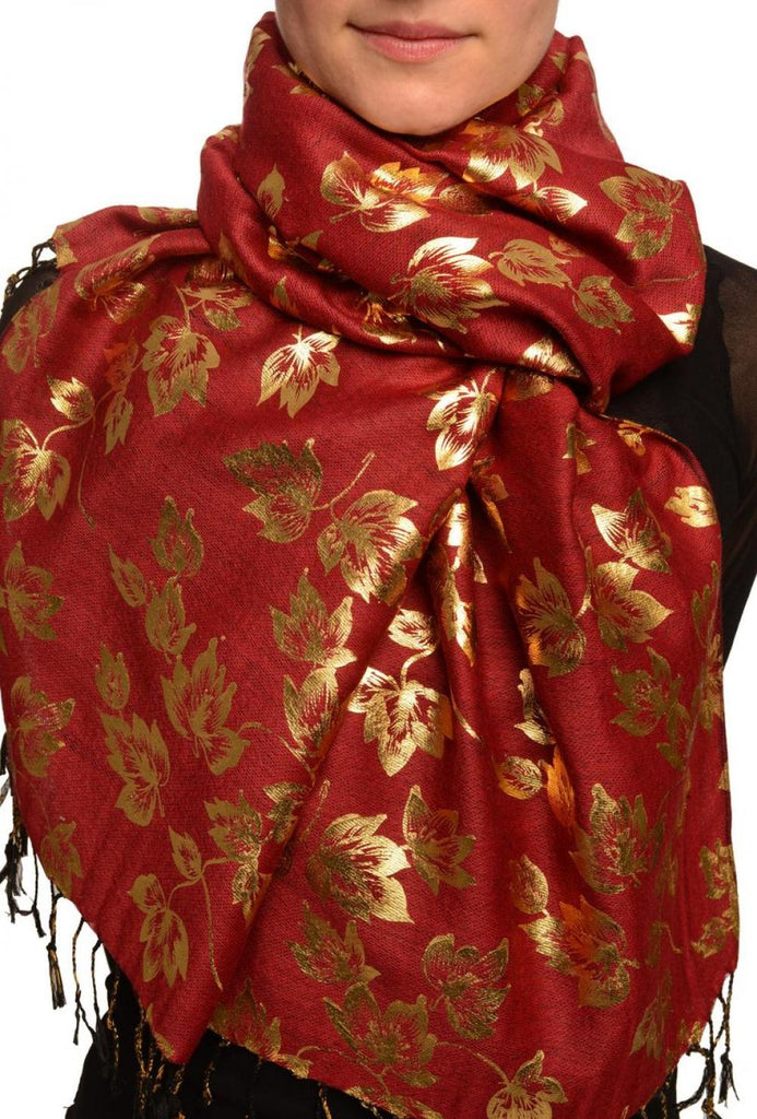 Gold Leafes Print On Bourgundy Pashmina With Tassels