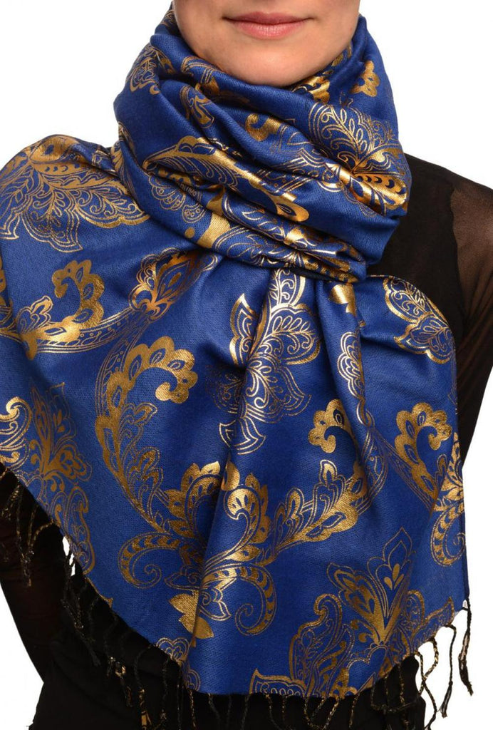 Gold Lotus Flower Print On Persian Prussian Pashmina With Tassels
