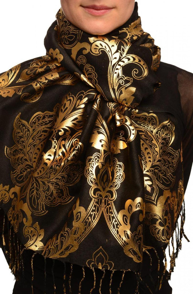 Gold Lotus Flower Print On Black Pashmina With Tassels