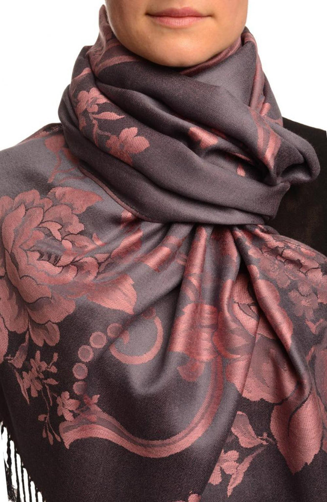 Large Puce Pink Roses On Slate Grey Pashmina With Tassels