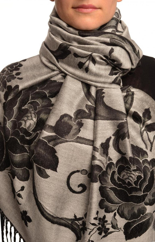 Large Black Roses On Silver Grey Pashmina With Tassels