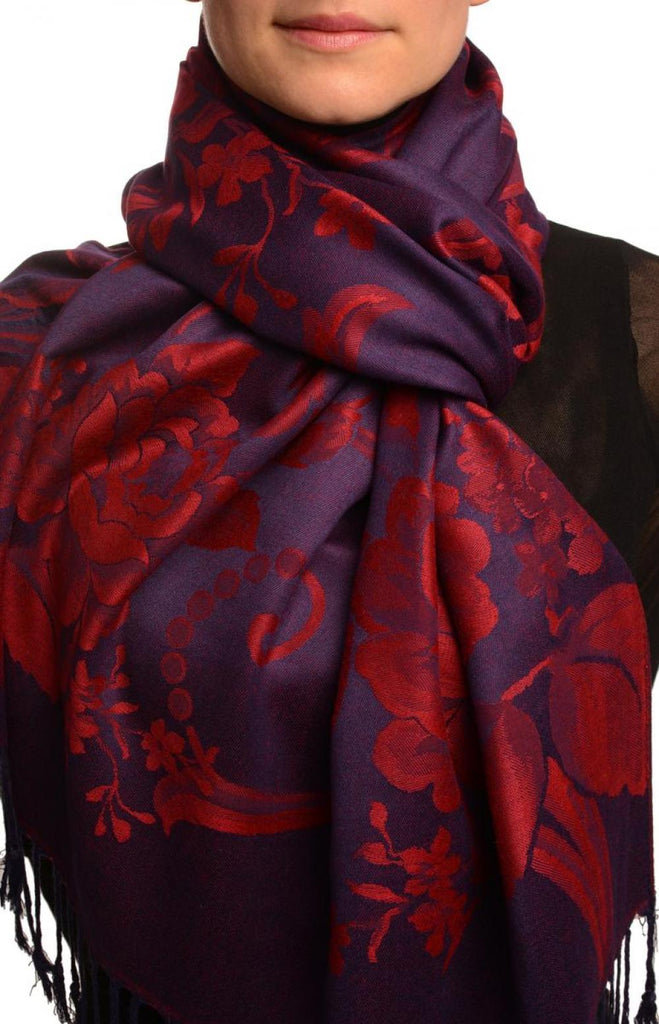 Large Burgundy Red Roses On Navy Blue Pashmina With Tassels