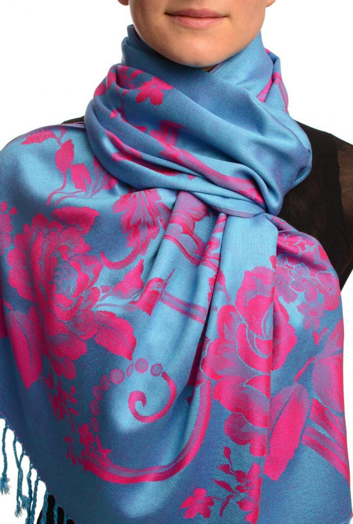 Large Magenta Pink Roses On Blue Pashmina With Tassels