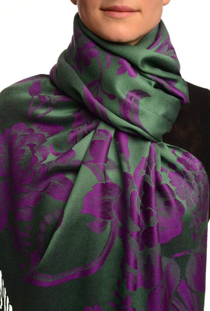 Large Purple Roses On Green Pashmina With Tassels