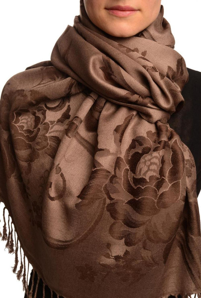Large Dark Brown Roses On Brown Pashmina With Tassels