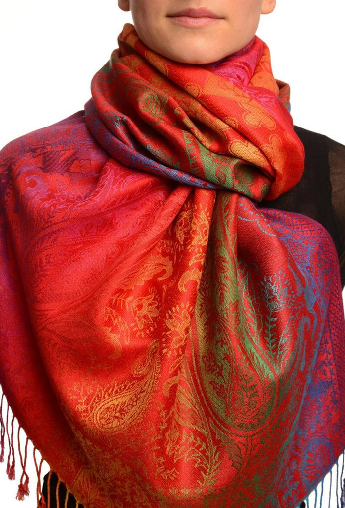 Large Ombre Paisley & Diamond On Red Pashmina With Tassels