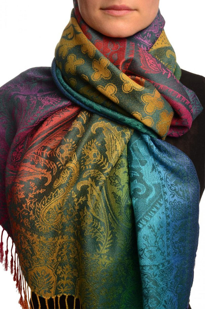 Large Ombre Paisley & Diamond On Prussian Blue Pashmina With Tassels