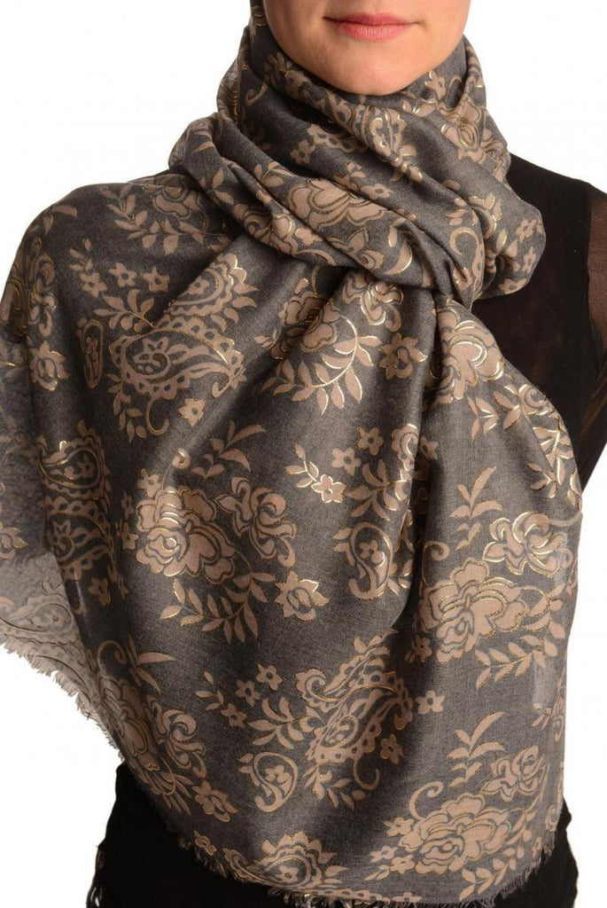 Brown Paisley With Gold Trim On Blue Scarf