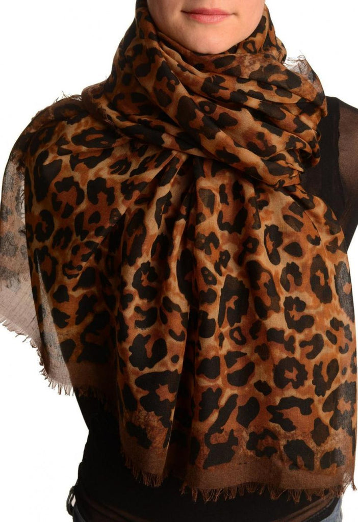 Brown Leopard Print Large Scarf