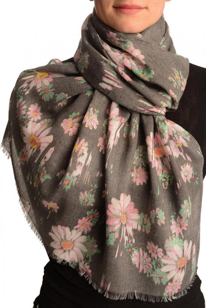 Grey With Gold Trim Daisies Scarf