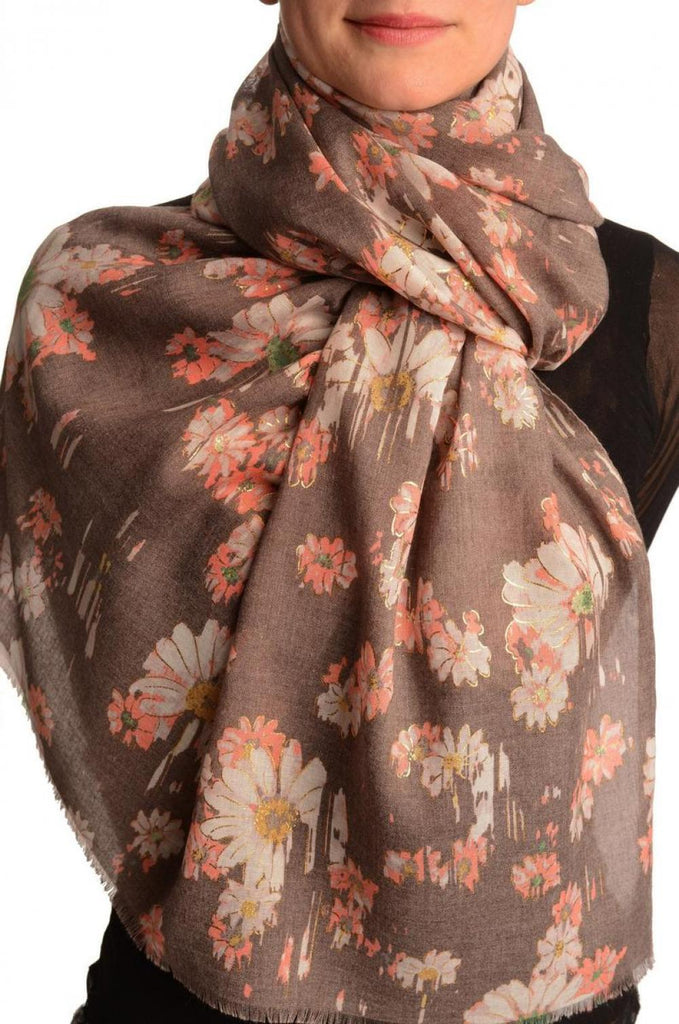 Brown With Gold Trim Daisies Scarf