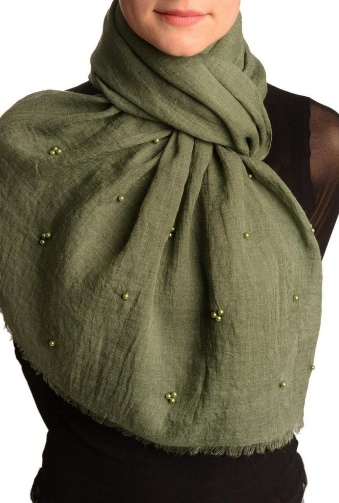 Fern Green Beaded Crinkled Scarf
