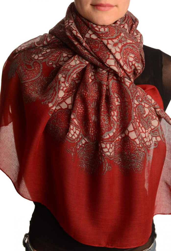 Large Floral Printed Lace On Red