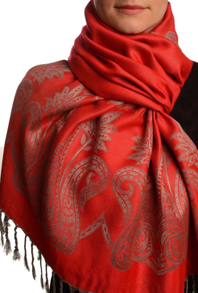 Large Paisley On Red Pashmina With Tassels