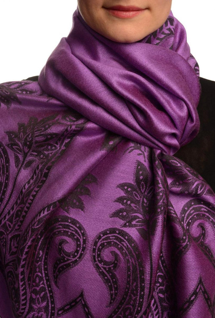 Large Paisley On Purple Pashmina With Tassels