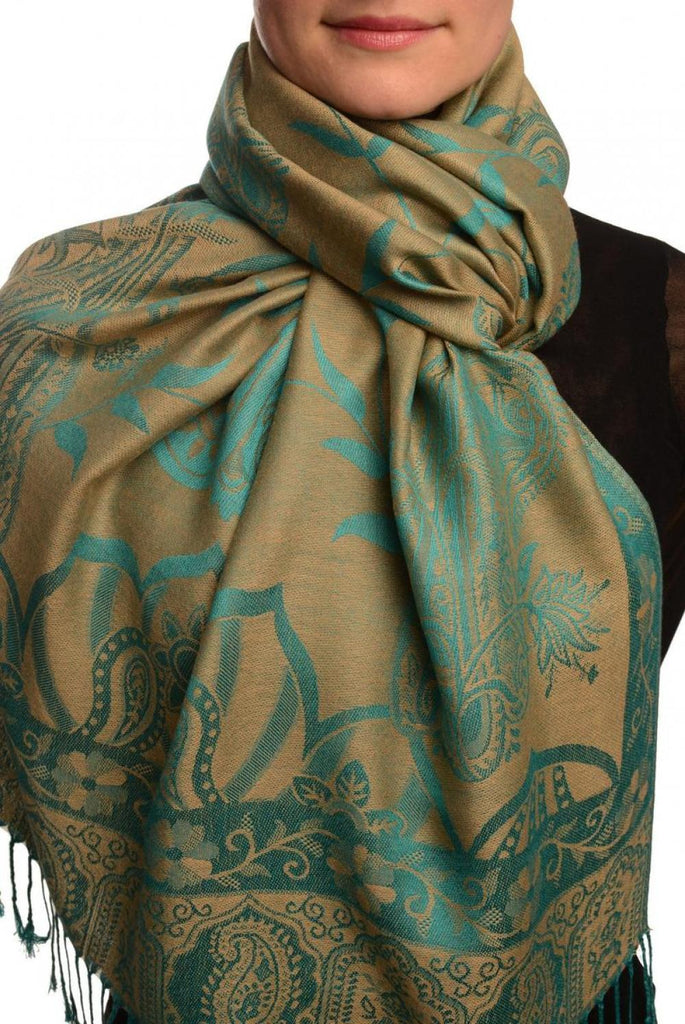Moroccan Rose On Beige Pashmina With Tassels