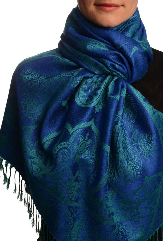 Moroccan Rose On Persian Blue Pashmina With Tassels